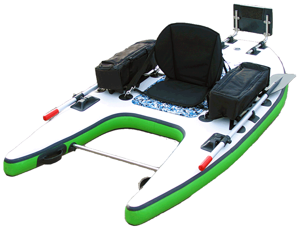 Inflatable pontoon fishing boat fusion dst float tube for Inflatable pontoon boat fishing